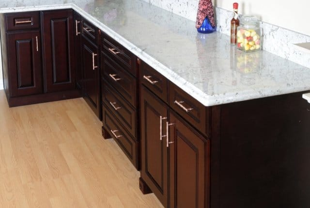 Compare Costs Of Preembled And Rta Dark Cherry Wood Cabinets