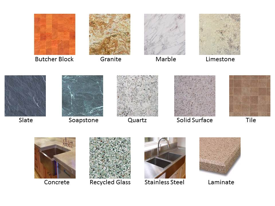 various options of different countertop materials