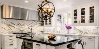black and white kitchen marble countertops and backsplash
