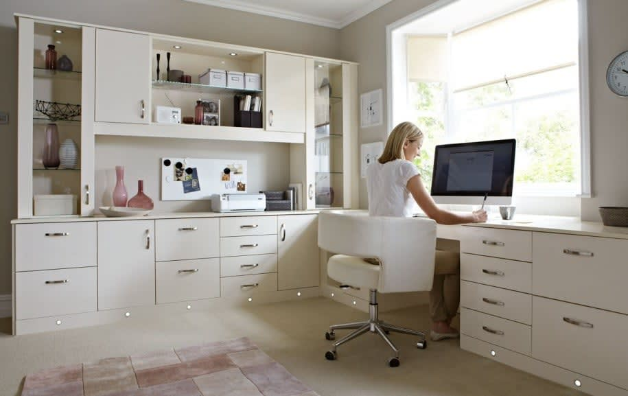 ... Home Office White Cabinets Working