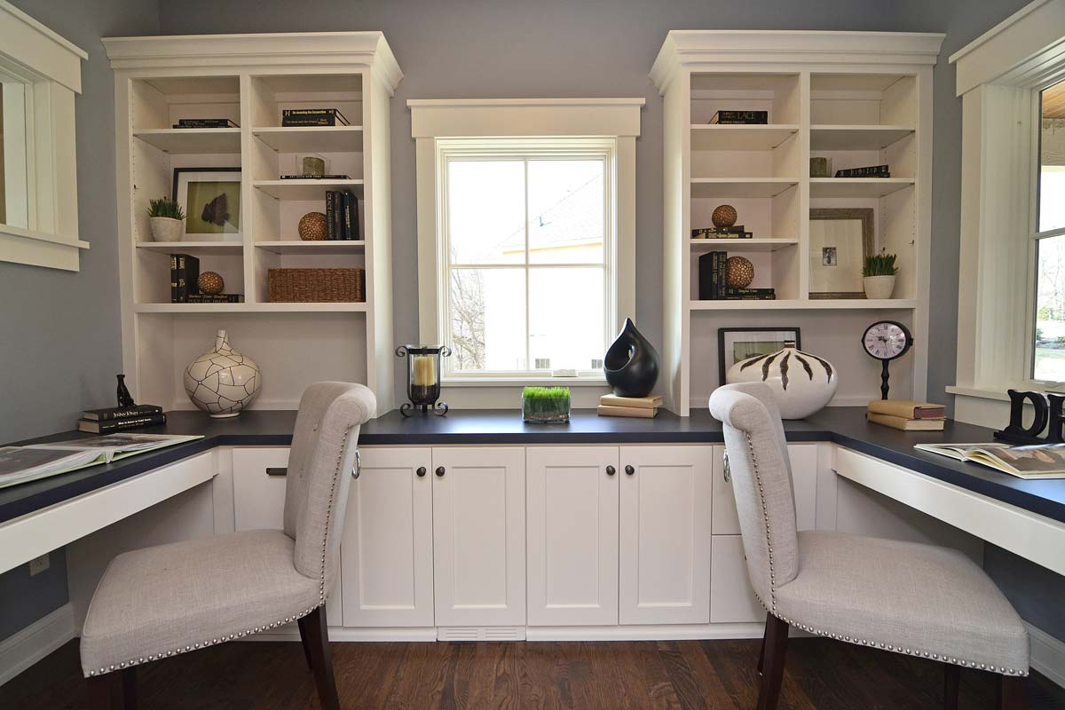 Lovely Home Office White Shaker Cabinets