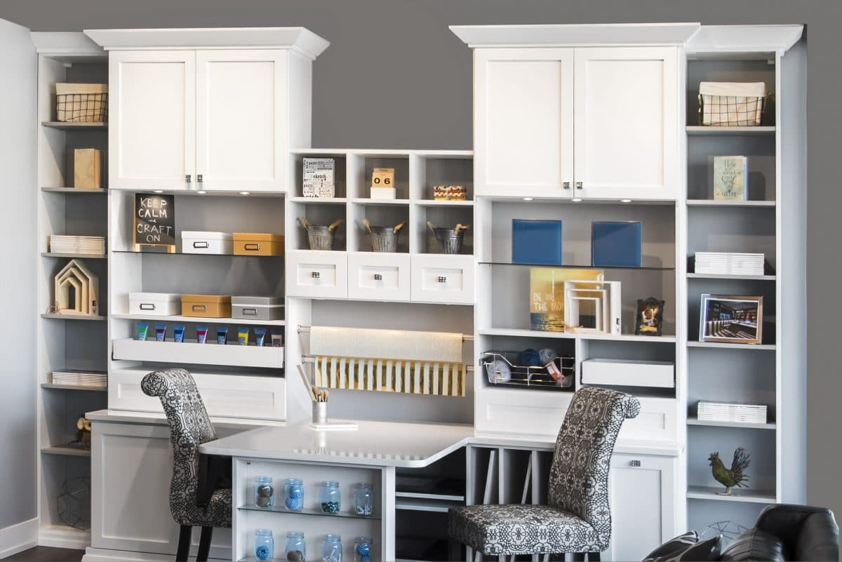 White Home Office Cabinets Center Desk