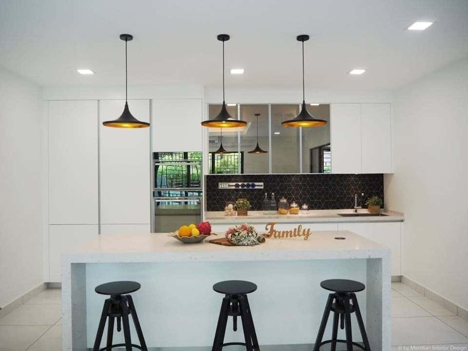 Modern White Kitchen for Double Storey Home in Subang Jaya Dry from recommend.me Best Online Cabinets california