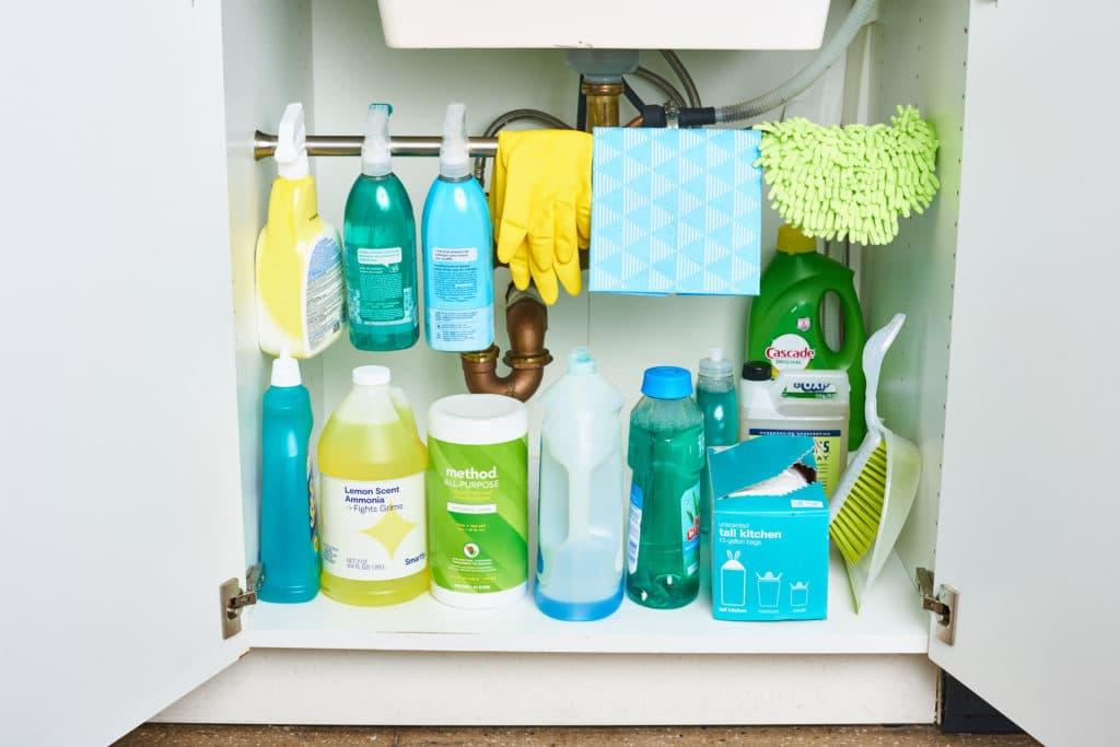 kitchen organization cleaning supplies