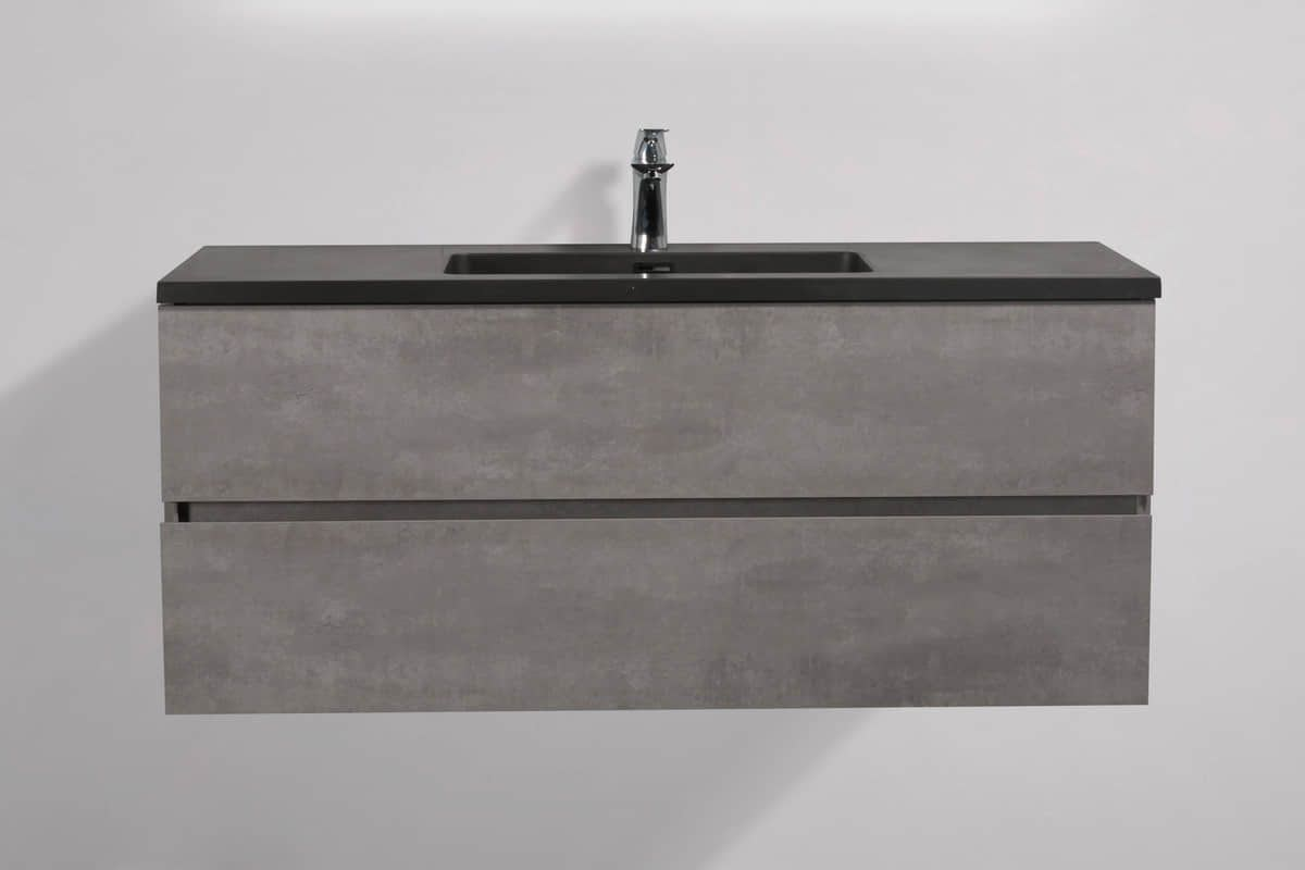Edi Black 48 In Vanity In Cement Grey With Acrylic Vanity Top In Matte Black With Matte Black Basin