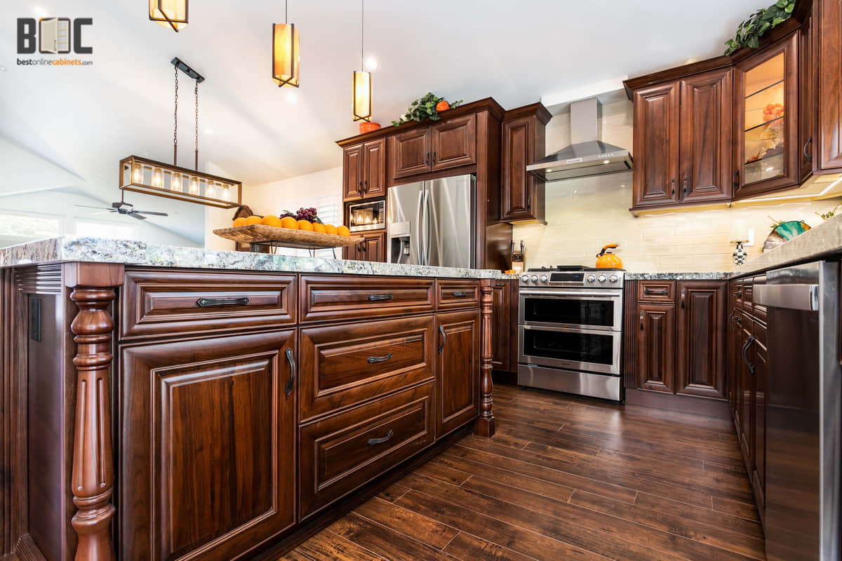 American Walnut Solid Wood Kitchen Cabinets Pre Assembled