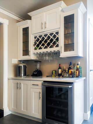 Design Idea - Wet Bar with Staggered Height Cabinetr
